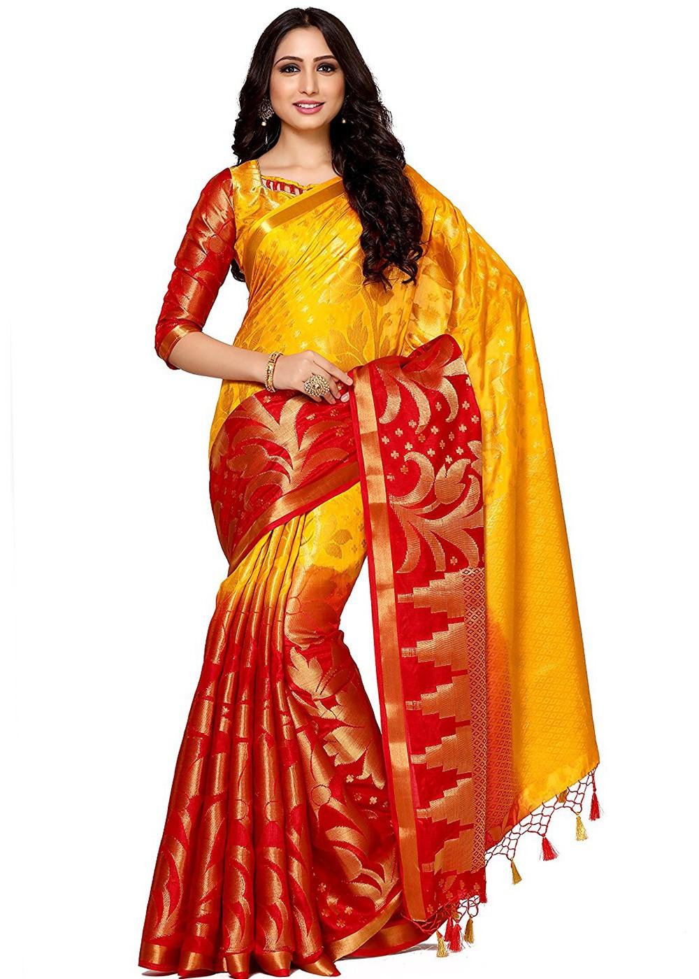 1549dcb176f953 Yellow   Red Kanjivaram Silk Saree With Blouse 1576SR28