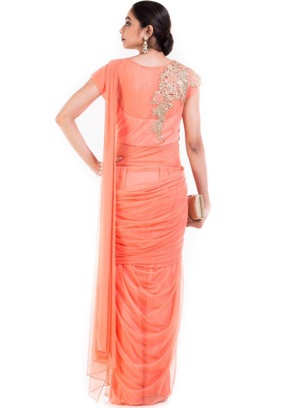 Light Orange Embroidered Saree Style Gown Designer Couture 172GW03