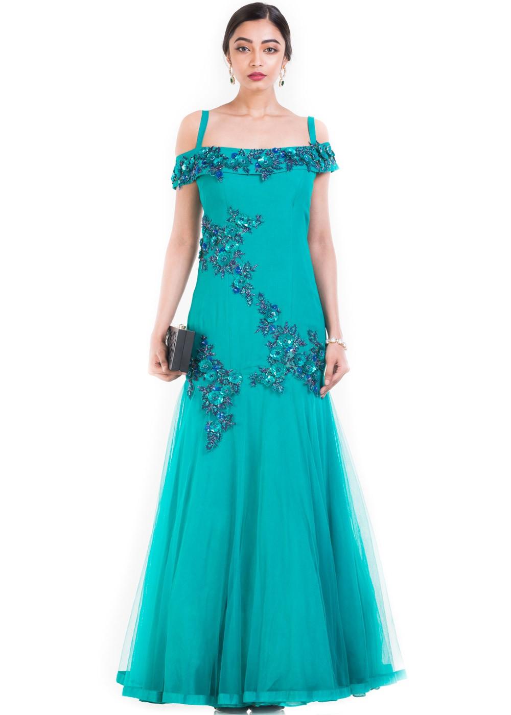6926a2b46d64 Turquoise Crape Silk   Net Off Shoulder Gown 171GW01