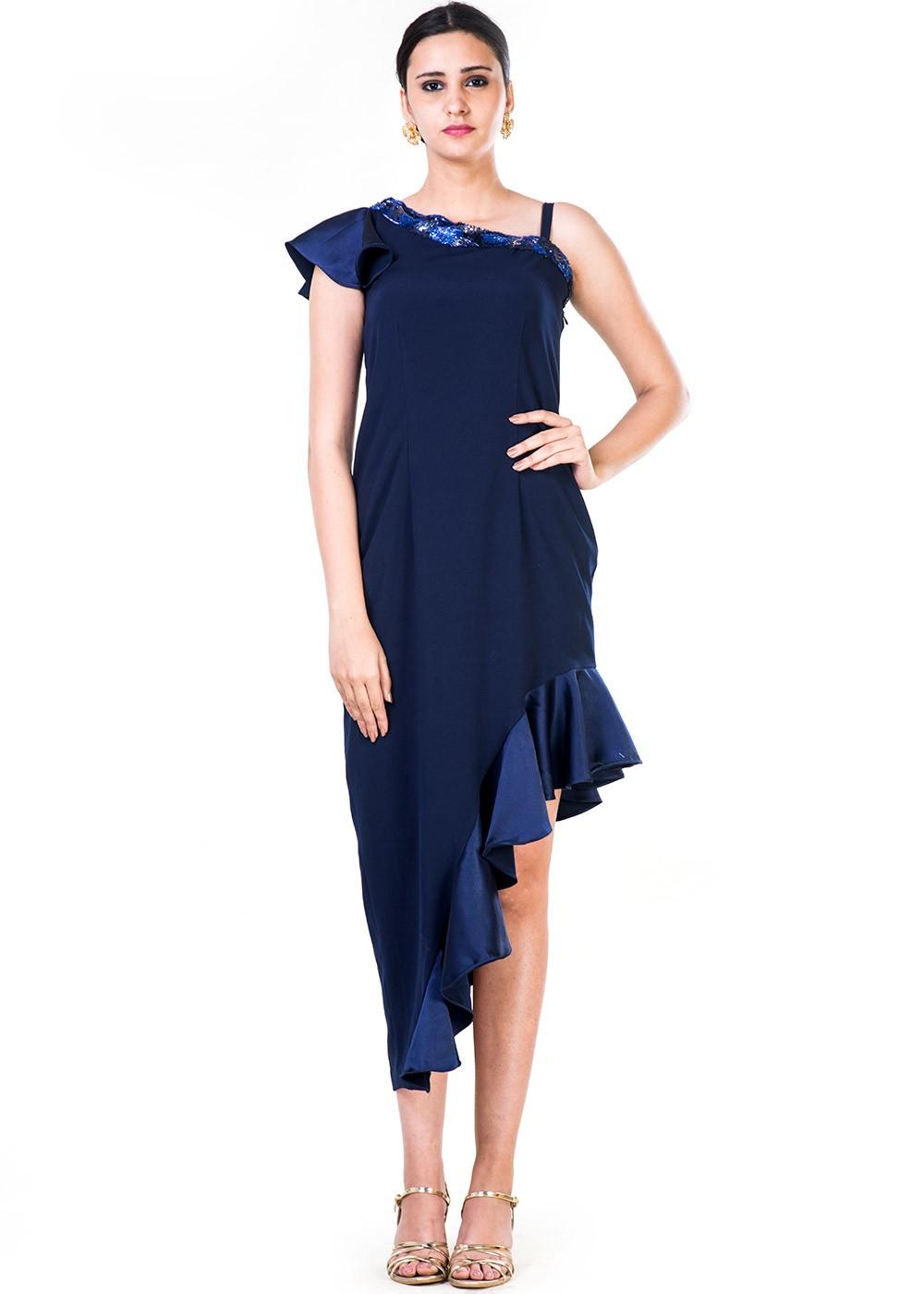 Next Embroidered One Shoulder Asymmetric Hem Dress