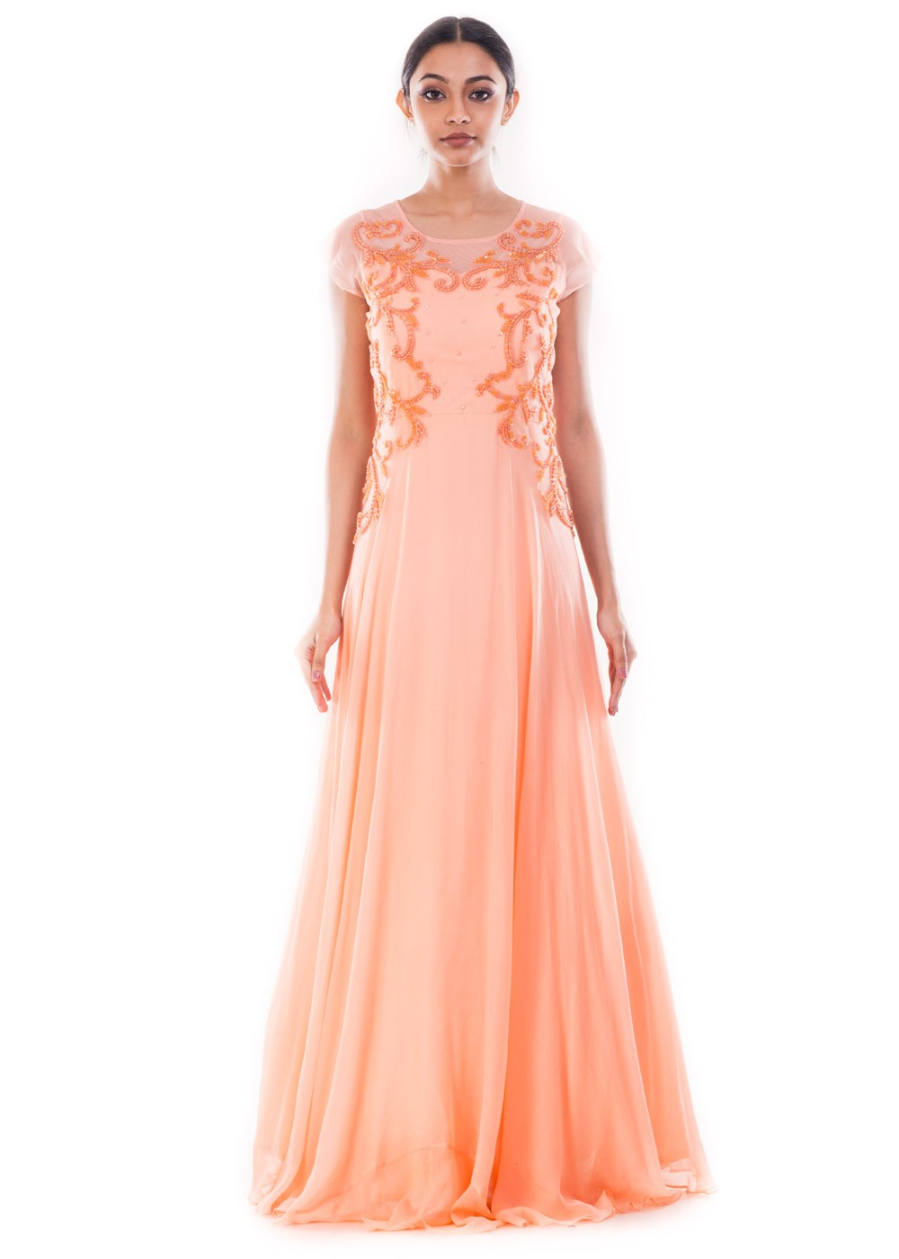 Peach Chiffon & Net Full Length Readymade Gown Designer Couture 168GW19