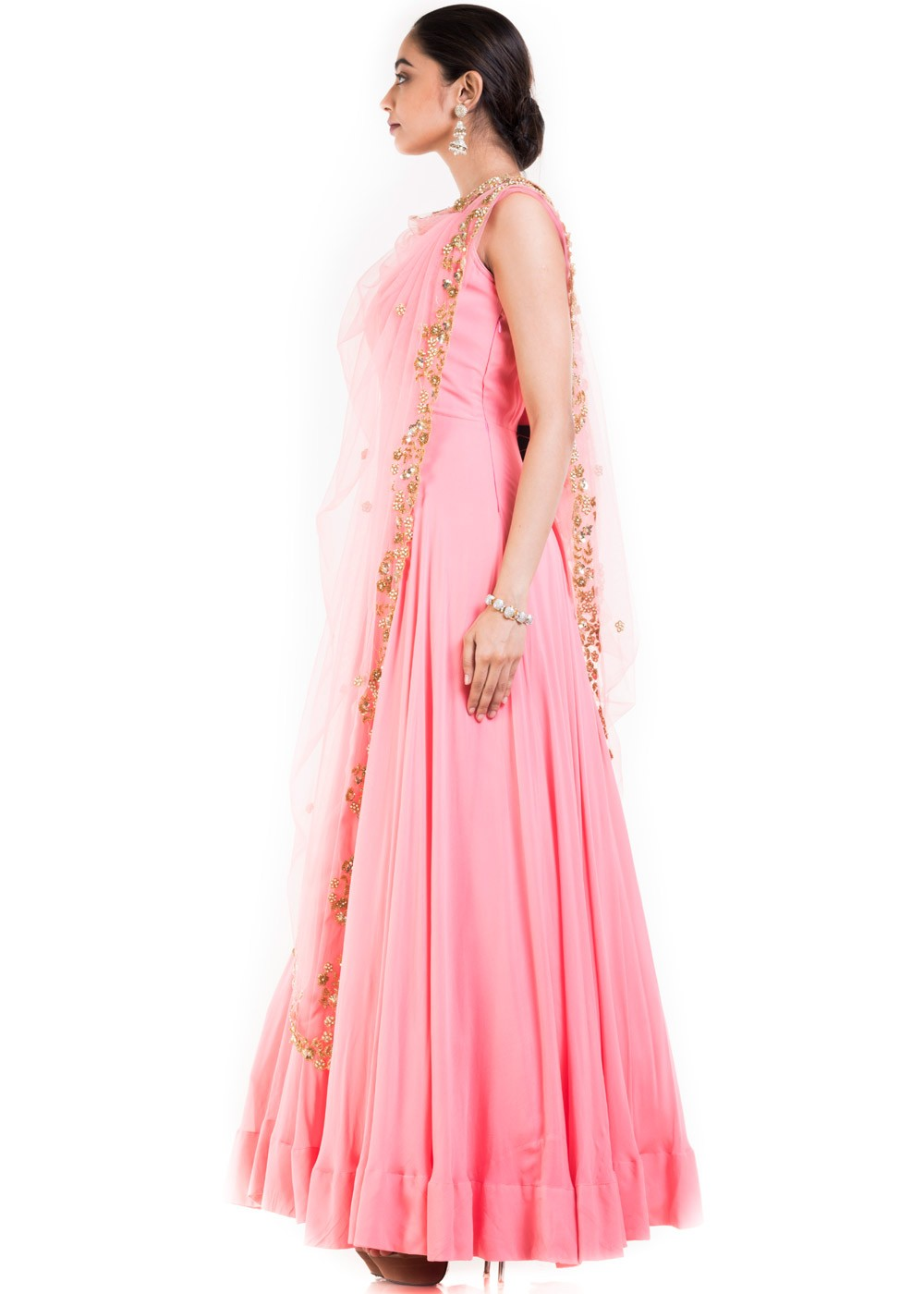 Light Pink Gown With Embroidered Cape Designer Couture 171GW03