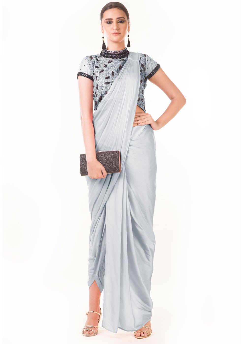 Grey Draped Dhoti With Embroidered Blouse Designer Couture 114tb13