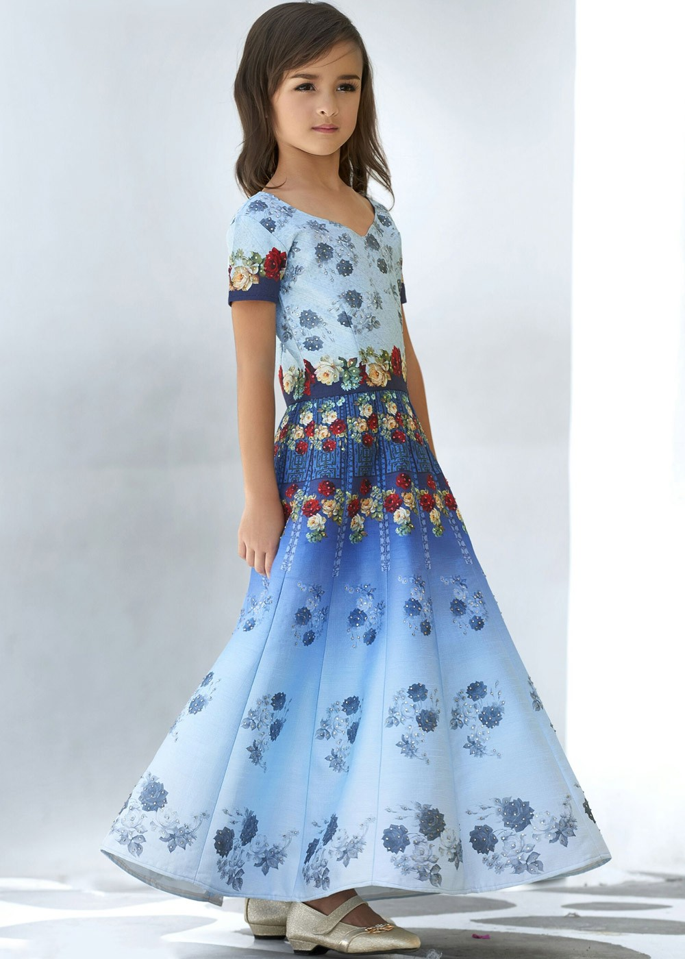 Readymade Sky Blue Shaded Kids Gown in Silk Kids 141KW07