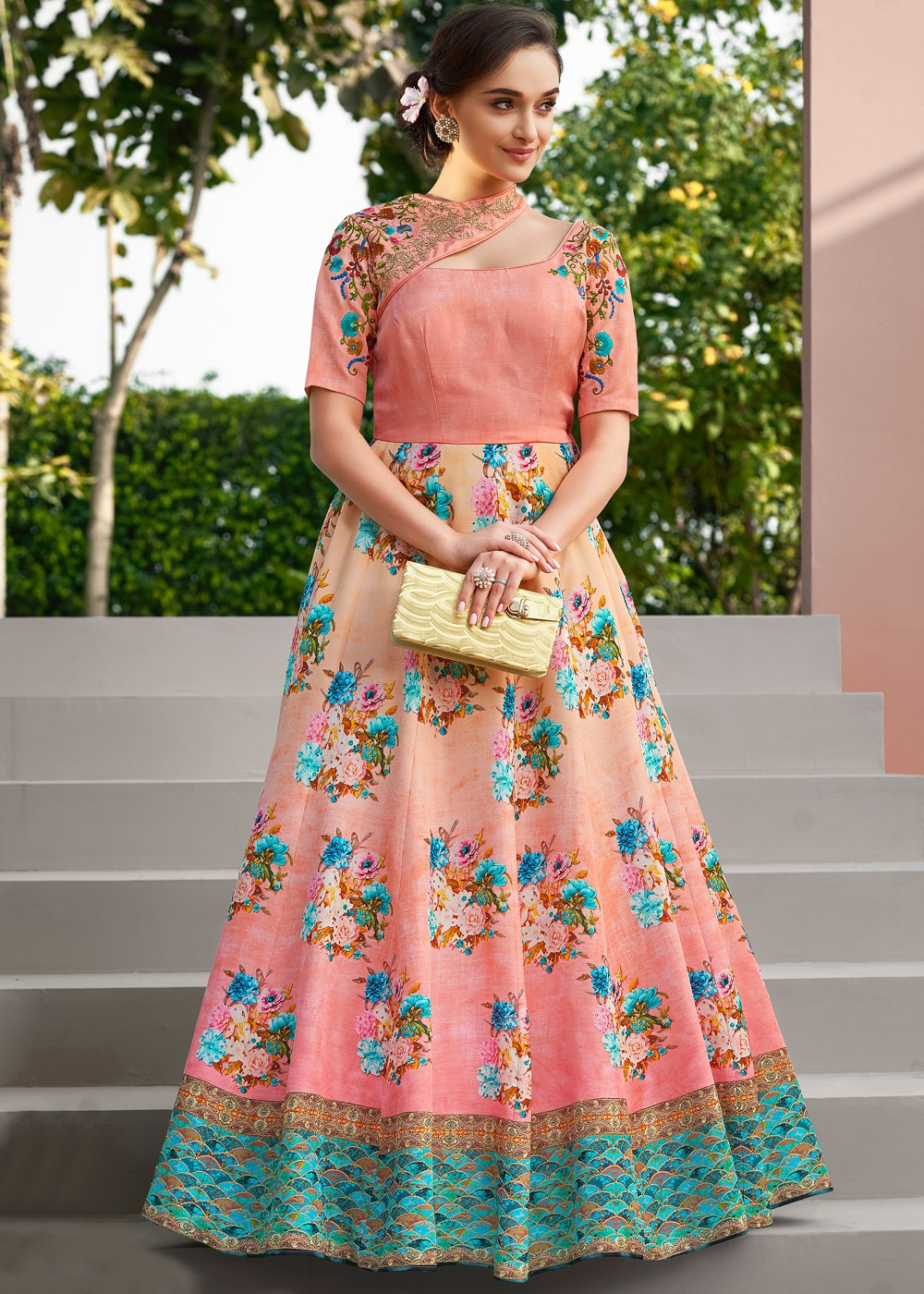 9c2d524cc5df Indo Western Gown  Buy Peach Printed Indian Gowns Online With Embroidery ...