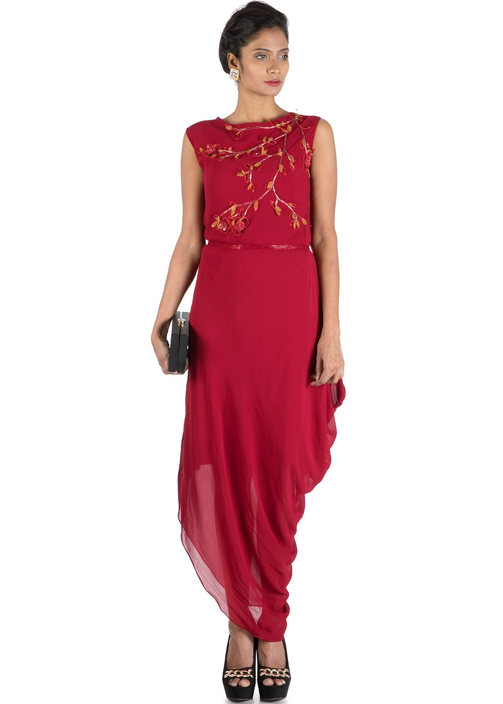 Red Draped Designer Readymade Dress Designer Couture 354kr03