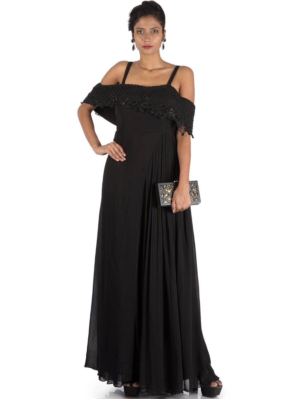 4c52b85410c Black Flared Jumpsuit With Attached Cape 354KR07