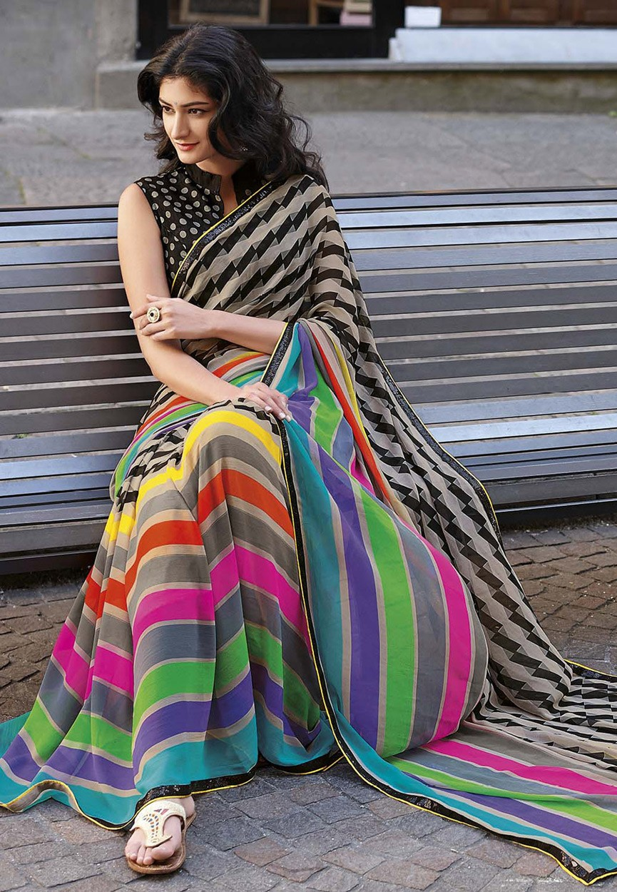 Multicolor Georgette Saree with Art Silk Blouse February ...