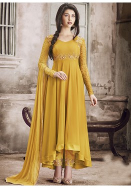 f969a100eca Indian Salwar Kameez Online - Yellow Asymmetrical Abaya Salwar Suit in  Georgette