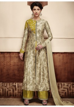 5d41bee0d7 Anarklai Dress - Beige Front Slit Anarkali Salwar Suit Online in Silk