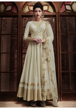 6bdaa209be Anarkali Dress - Buy off white Anarkali Silk Suit For Wedding Online USA
