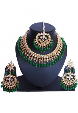 298ab7ed36 Indian Jewelry Online: Buy Green Golden Pearl And Kundan Bridal Necklace Set