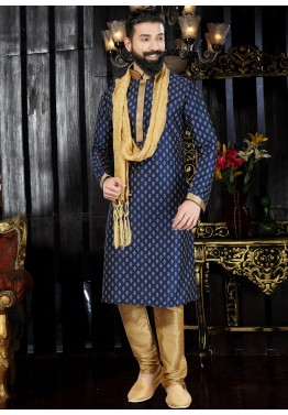 c6f6e260a5d Mens Indian Clothing  Shop Readymade Blue Art Silk Printed Kurta Pajama Set  With Stole Dress