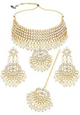 a0f751d6b Indian Jewelry Sets: Buy Golden White Stone Studded Choker Necklace Online