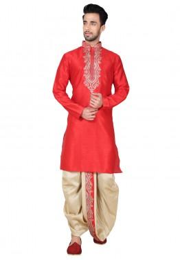 f94087ef24 Mens Indian Clothing: Buy Red Art Silk Dhoti Kurta Set Online