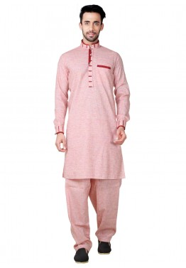 f7843895b8 Mens Indian Clothing  Buy Readymade Pink Linen Pathani Suit for Mens