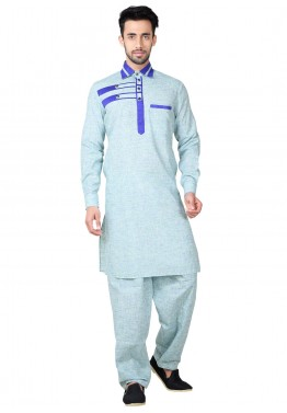 e3c9fe8c39 Readymade Blue Linen Pathani Suit for Mens Online Shopping in USA