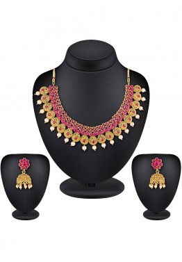 e75131850 Indian Jewelry in USA  Buy Golden and Pink Stone Studded Necklace Set Online
