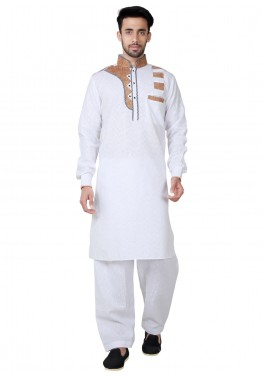 a802303bc9 Mens Indian Clothing: Buy Readymade White Linen Pathani Suit for Men Online