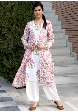 7a9b41dcaecce0 Indo Western Dress  Buy White Readymade Cotton Printed Indian Kurta Online