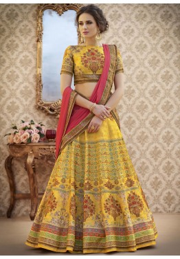 aed0d6c8df Buy Yellow Digital Printed Party Wear Lehenga Choli Online with Dupatta