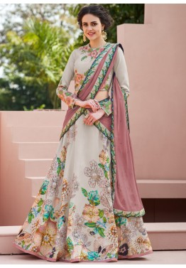 a241a097c7 Floral Lehenga: Buy Grey Floral Printed Satin Silk Indian Lehenga Choli  Online