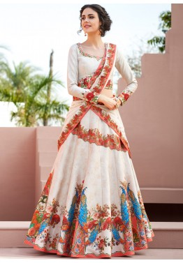 3a33d085a41901 Buy Cream Digital Printed Satin Silk Party Wear Lehenga Choli Online