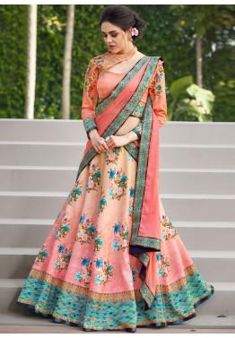 7163c63718 Floral Lehenga  Buy Peach Floral Printed Satin Silk Lehenga Choli Online