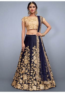 113409fd10 Navy Blue Art Silk Embroidered Indian Lehenga Choli Online USA