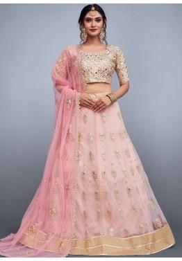 c374fc8a08 Mirror Work Lehenga: Buy Baby Pink Embroidered Net Lehenga Choli Online
