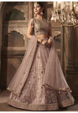 e57caa21b Mirror Work Lehenga  Buy Fawn Embroidered Net Lehenga Choli Online