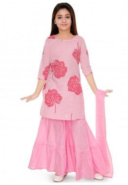 7df9ededa Kids Ethnic Wear  Buy Pink Printed Kids Sharara Salwar Suit Online