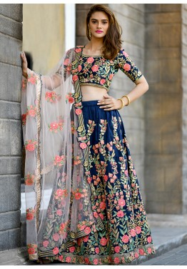 dfdf55842a Lehenga Collection: Buy Navy Blue Silk Designer Lehenga Choli Online