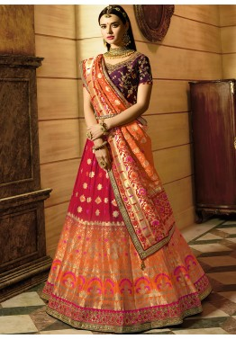 3ff2aebf2e Red Orange Shaded Woven Indian Lehenga Choli Online Shopping in USA