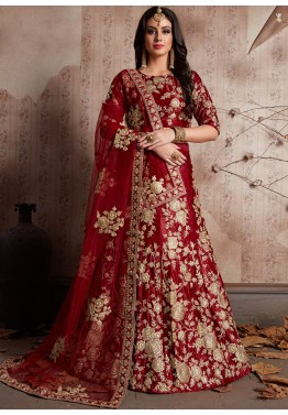 10d1ec96be2 Maroon Embroidered Velvet Designer Bridal Lengha Choli Online Shopping