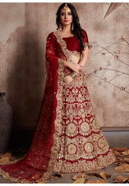 5997785d2d Maroon Heavy Embroidered Indian Bridal Lehenga Online Shopping in USA