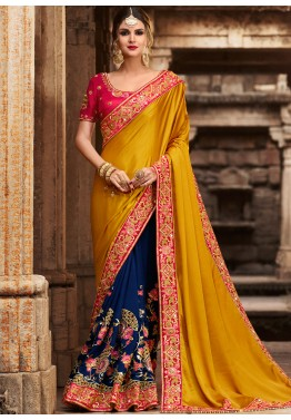 05554063318 Blue   Yellow Half N Half Style Indian Saree Online Shopping USA