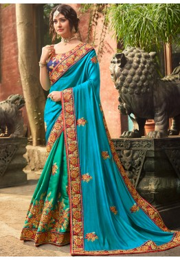 eabb8f85cc349 Shop Green   Blue Half n Half Style Crape Indian Saree online USA