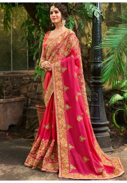 65227e6119d Pink Embroidered Crape Indian Wedding Saree with Heavy Blouse USA