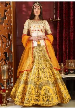 bf56defb97b010 Buy Yellow Foil Printed Peplum Style Party Wear Lehenga Choli Online in USA