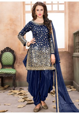 421f80ecbd Indian Clothes: Buy Navy Blue Art Silk Punjabi Salwar Suits with Dupatta