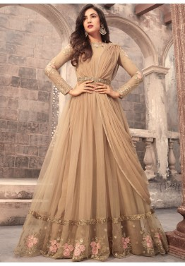 9003bc09135 Indian Dresses for Women  Buy Beige Net Abaya Style Salwar Suit Online