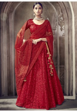 1343193f6f30 Red Net Embroidered Designer Bridal Lehenga Choli Online Shopping in USA