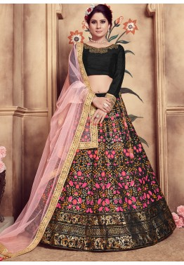 583f8a0d4 Lehenga Choli  Black Foil Printed Silk Indian Lehenga Online Shopping for  Women