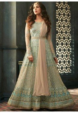 141012f1b Eid Outfits: Buy Pastel Green Net Abaya Style Indian Salwar Suit Online
