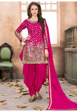 0bd8735b68 Indian Clothes: Buy Pink Art Silk Punjabi Salwar Suits Online With Dupatta