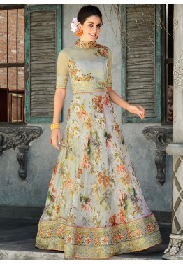 819347ffb5 Buy Grey Floral Digital Print Organza Silk Readymade Indian Gown Online