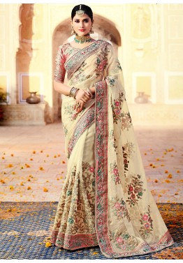 9209e31298c Off White Embroidered Organza Silk Indian Sari Online Shopping