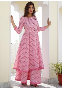 Indo Western Dresses - Readymade Pink Block Printed Cotton Kalidar and  Pakistani Sharara Suits bb4145354