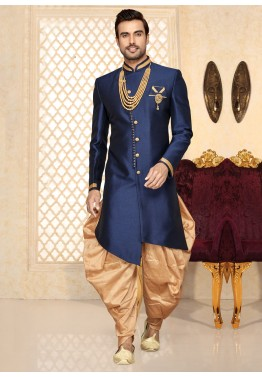 Blue Mens Semi wedding  Sherwani Indian Designer  Kurta 3pc with shawl all size